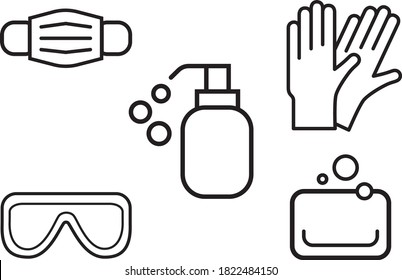 personal protective equipment flat vector icons and symbols, icons set. Surgical mask, medical mask, protective gloves, latex gloves, soap, dispenser, protective glasses, covid prevention 19.