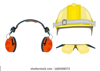 Personal protective equipment for industrial security, safety glasses, helmet, headphones isolated on white background. Set of protective gear icons for mobile concept and web apps. Stock vector