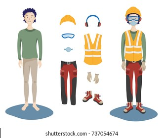 Personal protective equipment (ppe) to wear. Vector illustration of safety clothes and objects: headphones, glasses, jacket, gloves, shoes, trousers, mask.