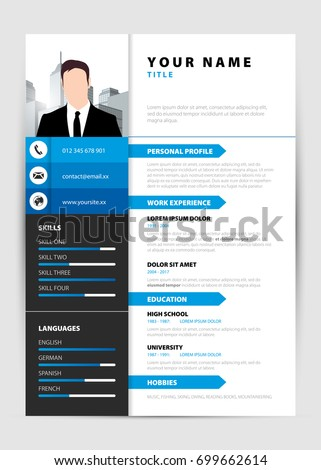 Personal Resume Modern Template In Blue Style Vector Illustration