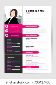 Personal Resume. Modern template in pink style. Vector illustration