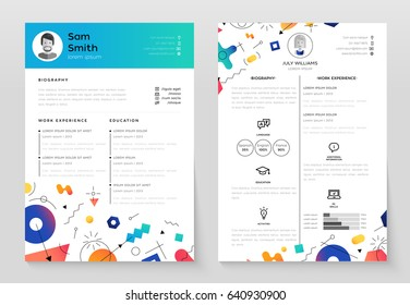 Personal Resume - vector template illustration with abstract background. Make your resume structured and well organized. Biography, work experience, education. Modern outlook with different shapes.