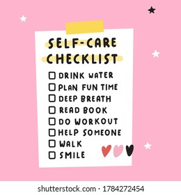 Personal self-care checklist. Illustration on pink background.