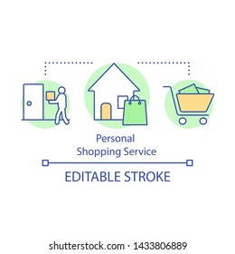 Personal shopping service concept icon. Running errands for client. Purchase assistance. Door-to-door gifts delivery idea thin line illustration. Vector isolated outline drawing. Editable stroke