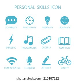 Personal skills icon. Self characteristic vector icon set. Soft skills pictograms. Can be used in resume with infographics.