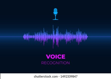 Personal sound assistant and voice recognition system concept. Microphone button with bright gradient equalizer wave. Soundwave intelligent smart ai technologies vector illustration