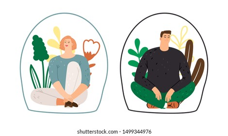 Personal space concept. Man woman introverts. Meditation, calm flat female and male characters, vector illustration