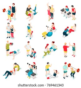 Personal sport trainer isometric icons set of isolated human characters of people performing exercises with coach vector illustration
