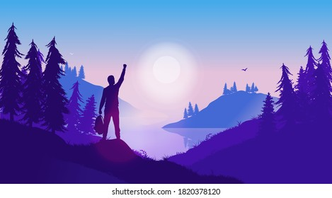 Personal success story - Silhouette of positive male person in wild landscape, raising hand in triumph. Nature therapy, live in the moment, and overcome adversity concept. Vector illustration.