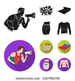 Personal trainer, fruit salad, mat, female waist. Fitnes set collection icons in black, flat style vector symbol stock illustration web.