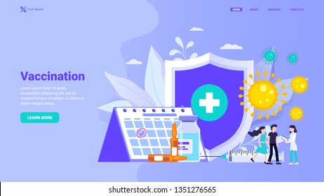 Personal vaccination, family vaccination and consultation web site concept. Flat vector illustration with characters for website, landing page, banner, hero image. Landing page template easy to use.