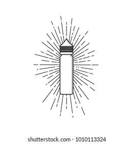 personal vaporizer e-cigarette e-juice liquid plastic bottle spark sunray burst vector art