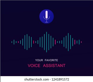 Personal voice assistant vector isolated illustration in neon color