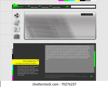 Personal Website or Video WebLog Design Template light grey Theme Vector