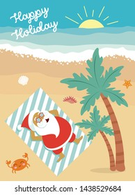 Personalised Postcards From Santa Claus summer christmas holiday, editable greeting card for summer vacation