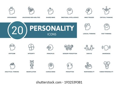 Personality icon set. Contains editable icons personality theme such as unlocking new abilities, emotional intelligence, critical thinking and more.