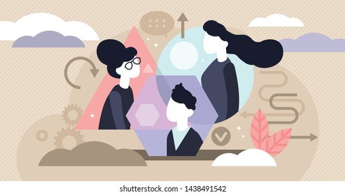 Personality types vector illustration. Flat tiny psychological persons profile concept. Extrovert and introvert human mental differences. Emotional mindset and individual temperament behavior sensing.