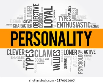 Personality word cloud collage , social concept background