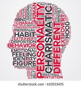 personality word cloud head typography