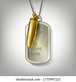 Personalized engraved army tag necklace with a golden bullet hanging on a steel ball chain isolated on grey background. Silver army locket or soldier badge form stainless steel with identity details.