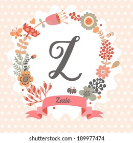Personalized monogram in vintage colors. Stylish letter Z. Can be used as greeting card, invitation card. Floral wreath in vector