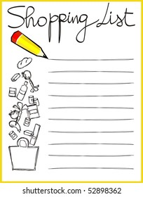 Personalized shopping list, vector