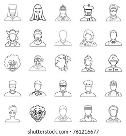 Personification icons set. Outline set of 25 personification vector icons for web isolated on white background
