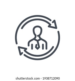 Personnel change and Staff updating line icon. Businessman replacement and rotating arrows vector outline sign.