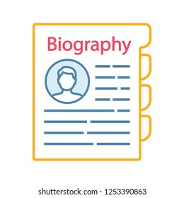 Personnel file color icon. Personal data. HR document. Professional bio. Staff member document. Biography. Isolated vector illustration
