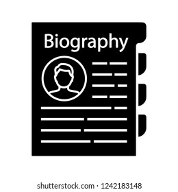 Personnel file glyph icon. Personal data. HR document. Professional bio. Staff member document. Biography. Silhouette symbol. Negative space. Vector isolated illustration