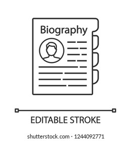 Personnel file linear icon. Personal data. HR document. Thin line illustration. Staff member document. Professional bio. Biography. Contour symbol. Vector isolated outline drawing. Editable stroke
