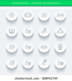 Personnel, Human resources, HR, staff, thin linear round icons, vector illustration, eps10, easy to edit
