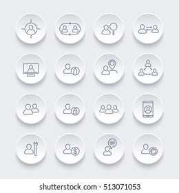 Personnel line icons set, human resources, HR, team, employee, vector illustration