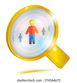 Personnel management. Concept icon. Large gold magnifying glass looking at a person. Vector illustration, isolated on white background.