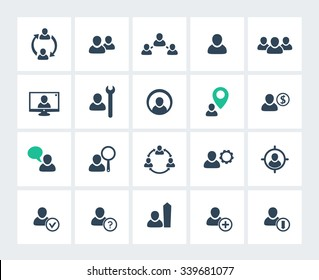 Personnel management, human resources, HR, HRM icons pack, vector illustration