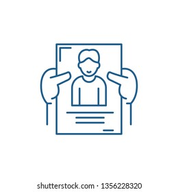Personnel management line icon concept. Personnel management flat  vector symbol, sign, outline illustration.