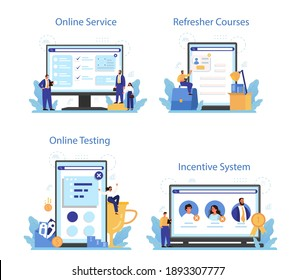 Personnel screening online service or platform set. Business recruitment and empolyee control. Online incentive system, testing, refresher course. Isolated flat vector illustration