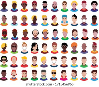 Persons, avatars, people heads of different ethnicity. Vector design