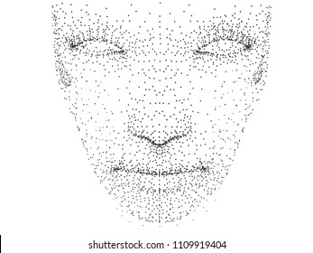The person's face is made of dots. Abstract person's face consisting of black dots. Vector illustration