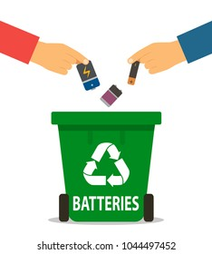 The person's hand throws the used batteries into the recycling container. concept of garbage processing. Vector illustration in a flat style on a white background