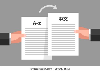 Person's hands are holding similar documents in different languages. Concept of document translation from English to Chinese, multilingual business papers, translation services, text translating