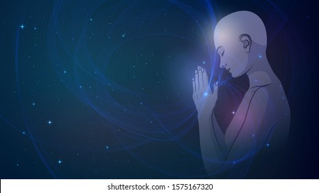 Person's prayer against the background of the starry sky. Human Chakras and Energy, Zen and Meditation. Nude woman