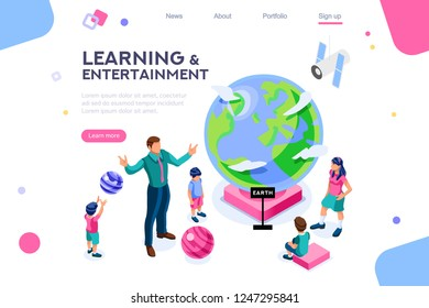 Persons visiting a flat museum, colorful pupil, male at system entertainment for kids. Many looking group and planet objects in the space body with parents. Flat isometric vector illustration.