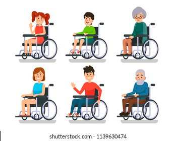 Persons in wheelchair. Hospital patient with disability. Disabled young boy and girl, man woman character and happy old people patients invalid sitting in wheelchairs colorful vector isolated icon set