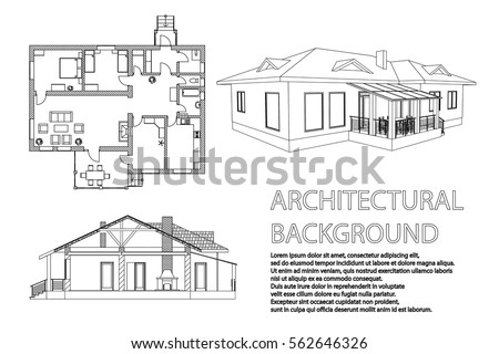 Perspective 3D, Floor Plan And Cross Section Suburban House. Drawing Of The  Modern Building
