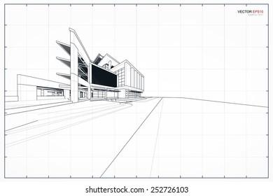 Perspective 3D render of building wireframe. Vector illustration.