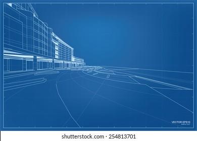 Perspective 3D render of building wireframe. Vector blueprint background.