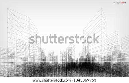 perspective 3 d render building wireframe vector stock vector