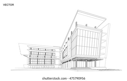 Perspective 3d Wireframe of building