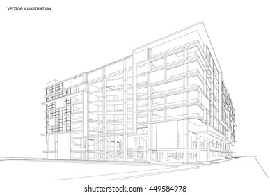 Perspective 3d Wireframe of Modern building, Office building